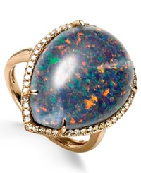Macy's Opal Triplet 21 1 2 Ct. T.W. And Diamond 3 8 Ct. T.W. Ring In 14K Rose Gold Blue