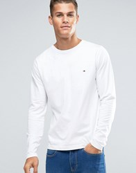 Tommy Hilfiger Long Sleeve Top With Flag Logo In White 08578A0256
