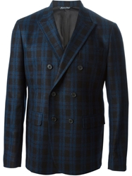 Brian Dales Checked Double Breasted Blazer Blue