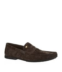 Stefano Ricci Suede And Croc Penny Loafer Brown