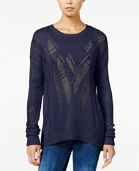 One Hart Juniors' Open Knit Sweater Only At Macy's Navy Blue