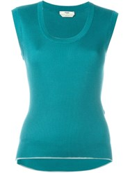 Fendi Ribbed Tank Top Green
