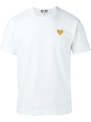 Comme Des Garcons Play Embroidered Heart T Shirt White