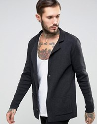 Asos Knitted Blazer In Slim Fit Washed Black