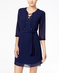 Amy Byer Bcx Juniors' Lace Up A Line Dress Navy