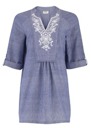 People Tree Susanna Embroidered Tunic Blue