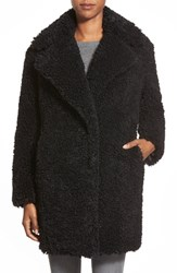 Women's Kensie 'Teddy Bear' Notch Collar Faux Fur Coat Black