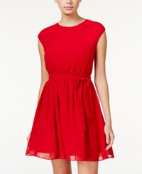 Amy Byer Bcx Juniors' Pleated Cap Sleeve Fit And Flare Dress Scarlet