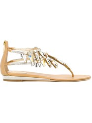 Rene Caovilla Strass Flat Sandals Nude And Neutrals