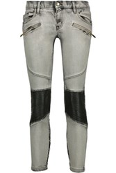Just Cavalli Cropped Moto Style Low Rise Skinny Jeans Gray