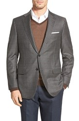 Men's Big And Tall Hickey Freeman 'Beacon' Classic Fit Check Wool And Cashmere Sport Coat Grey