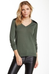 A. Moss Long Sleeve Wool And Faux Leather Sweater Green