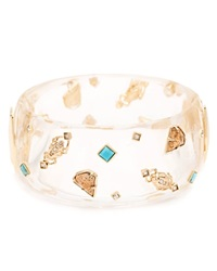 Alexis Bittar Lucite Studded Charm Hinge Bangle Clear