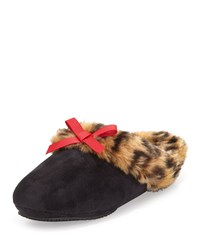 Patricia Green Logan Leopard Print Faux Fur Slipper Black Red