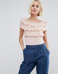 Vero Moda Tiered Ruffle Front Shirt With Cap Sleeves Rose Dust Pink