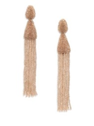 Oscar De La Renta Long Beaded Tassel Clip On Earrings Khaki Navy Grey