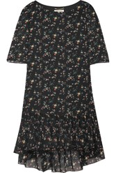 Saint Laurent Ruffled Floral Print Silk Chiffon Mini Dress Black