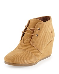 Corduroy Suede Desert Wedge Bootie Brown Sugar Toms
