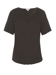 James Perse Short Sleeved Linen And Cotton Blend T Shirt Dark Grey