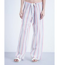 Solid And Striped Cotton Trousers Red Blue Double Stripe