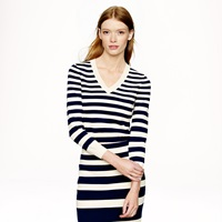 J.Crew Collection Cropped Stripe V Neck Sweater