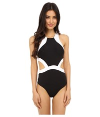 Jets By Jessika Allen Classique High Neck Cut Out One Piece Black White Women's Swimsuits One Piece
