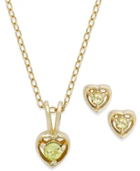 Lily Nily Children's 18K Gold Over Sterling Silver Necklace And Earrings Set August Birthstone Peridot Heart Pendant And Stud Earrings Set 1 4 Ct. T.W.