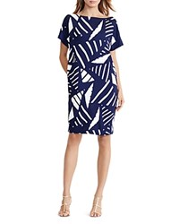 Ralph Lauren Boat Neck Geo Print Shift Dress Navy Ivory