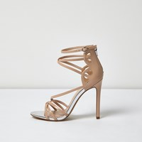 River Island Womens Nude Patent Strappy Heels