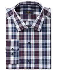 Club Room Estate Men's Classic Fit Wrinkle Resistant Burgandy Navy Plaid Dress Shirt Only At Macy's
