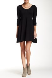 Angie Long Sleeve Solid Fit And Flare Dress Black