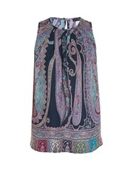 Etro Paisley Print Sleeveless Top Purple Multi