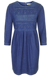 Topshop Moto Embroidered Smock Dress Mid Stone