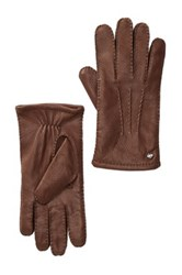 Cole Haan Handsewn Deerskin Leather Gloves Brown