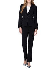 Tahari By Arthur S. Levine Petite Flap Pocket Jacket Pant Suit Black