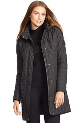 Women's Lauren Ralph Lauren Faux Leather Trim Quilted Coat Black