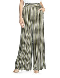 1.State Patterned Wide Leg Pants Green