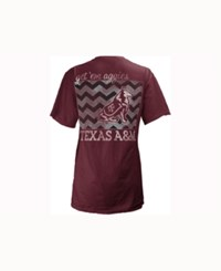 Pressbox Women's Texas A And M Aggies Blocked Chevron V Big T Shirt Maroon
