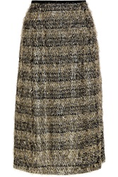 Isa Arfen Fringed Striped Lame And Jersey Midi Skirt
