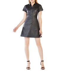 Bcbgmaxazria Stephana Faux Leather Shirt Dress Black