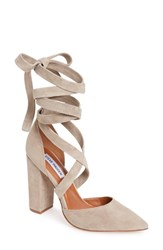 Steve Madden Women's Bryony Lace Up Pump Taupe Suede