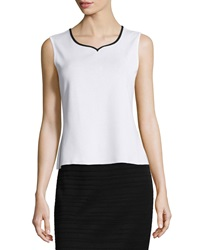 Ming Wang 22' Tipped Sweetheart Neck Tank White Black