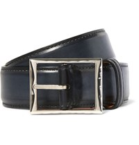 Berluti 3.5Cm Blue Burnished Leather Belt Blue