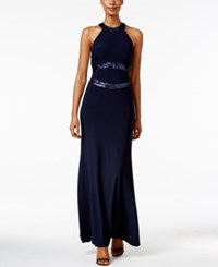 Betsy And Adam Open Back Sequined Halter Gown Navy