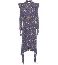 Vetements Ruffled Floral Printed Jersey Dress Blue