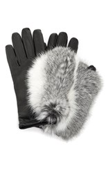 Imoni Short Lambs Leather Gloves With Fur Overlay Black