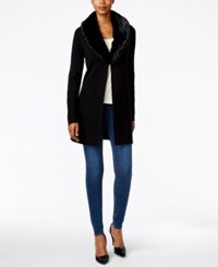 Charter Club Faux Fur Collar Cardigan Only At Macy's Deep Black