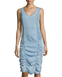 Xcvi Meridian Ruched Sleeveless Dress Ocean Wash