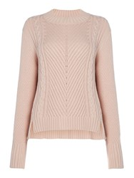 Therapy Lola High Neck Cable Stepped Hem Jumper Blush