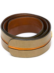 Celine Vintage Striped Belt Brown
